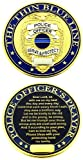 Thin Blue Line Shield Police Officer Prayer Challenge Coin - Pack of 12 Coins