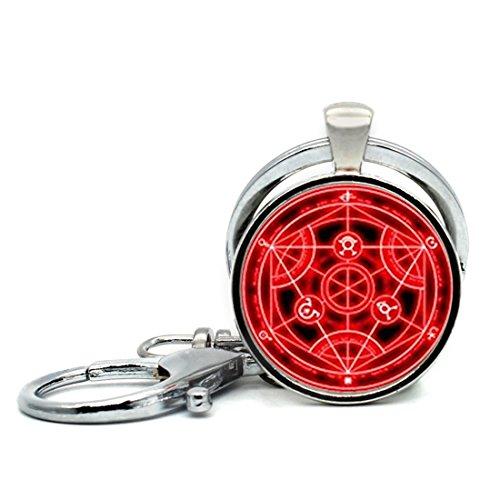 Keychain Round Pendant Full Metal Alchemist Red Transmutation Circle Glass Cabochon Key Rings Stainless Steel Metal Handmade Charm Pendants