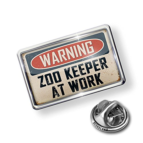 Pin Warning Zoo Keeper At Work Vintage Fun Job Sign - NEONBLOND