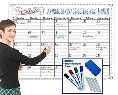 """Jumbo Dry Erase Wall Calendar 36 x 48"""" Inch Large Undated Monthly Planner NEVER Folded Perfect for Organizing Home & Office Bonus 4 Markers 1 Eraser 4 Mounting Tapes SPECIAL REUSABLE PLASTIC FILM"""