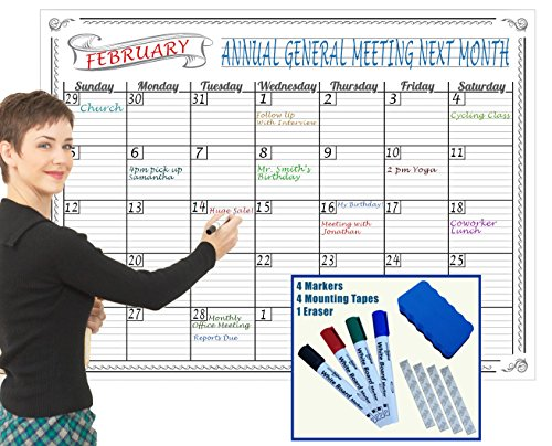 Jumbo Dry Erase Wall Calendar 36 X 48  Inch Large Undated Monthly Planner Never Folded Perfect For Organizing Home   Office Bonus 4 Markers 1 Eraser 4 Mounting Tapes Special Reusable Plastic Film