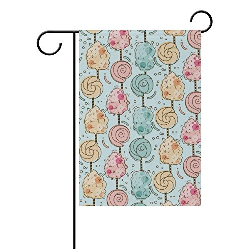 Raininc's Sweet Pattern Candy Floss Garden flag 12.5 x 18 Two Sided Yard Decoration Polyester Outddor ()