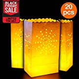 Go Luminary Bags 20 Piece with Sunburst Design, Durable and Reusable Fire Retardant Cotton Material, Superb for Wedding Halloween Birthday New Year or Other Party 326, White
