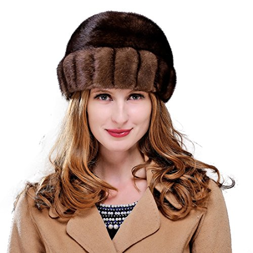 URSFUR Women's Mink Fur Roller Hat (One Size, Brown) by URSFUR