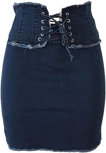 Mengyu Mujer Cintura Alta Casual Falda Vaquera Corta Faldas ...