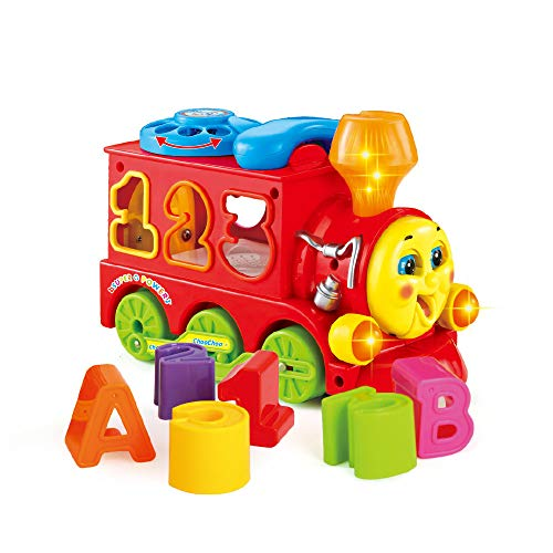 Woby Musical Smart Train Kids Educational Learning Toy Car Electric Bump and Go Train with Shape Sorter