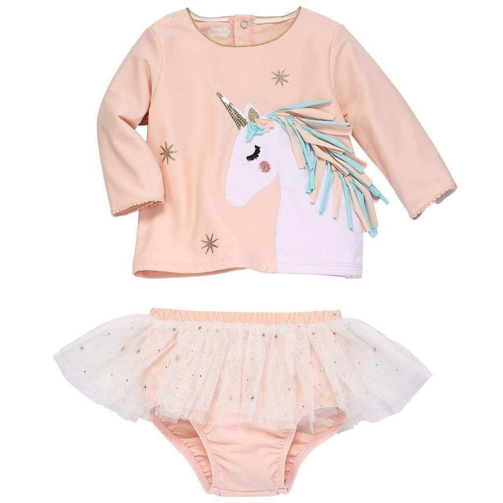 Mud Pie Baby Girl's Unicorn Rashguard Set (Infant/Toddler) Pink 4T (Toddler) by Mud Pie