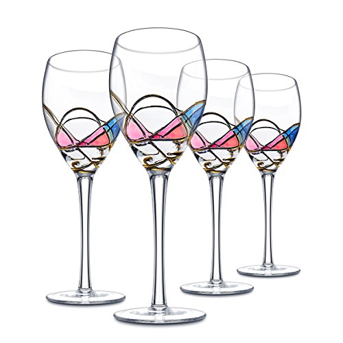 Ludan set of 4 beautiful hand painted crystal wine for Large white wine glasses