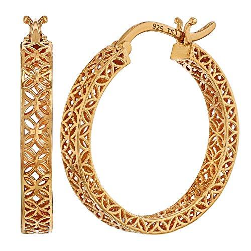 925 Sterling Silver Elegant Exotic Flower Filigree Hoop Woman Earrings 0.79
