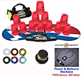 Speed Stacks Combo Set 'The Works'': 12 Neon PINK 4'' Cups, Atomic Punch Gen 3 Mat, G4 Pro Timer, Cup Keeper, Stem, Gear Bag + Active Energy Necklace