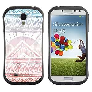 LASTONE PHONE CASE / Suave Silicona Caso Carcasa de Caucho Funda para Samsung Galaxy S4 I9500 / Drawn Pattern Subtle Light Zig Zag