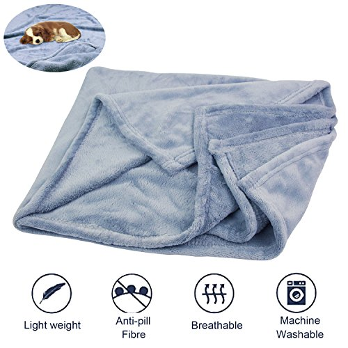 KYC Dog Pet Blanket Bed Cover Premium Flannel Fleece Puppy Throw Reversible Soft Warm Cozy Plush Microfiber Solid 27x39 Inch by KYC