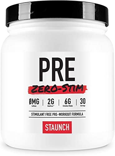 Staunch PRE Zero-Stim – 30 Servings, Blue Raspberry Pre-Workout Powder, No Stimulates. with Betapure, L-Citrulline, Vitamin B12 and More