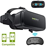 IMESIV 3D VR Headset with Remote Controller, Virtual Reality Headset Glasses Panoramic Large Viewing Immersive Experience HD VR Goggles for VR Games and 3D Movie Compatible for IOS Android Smartphones