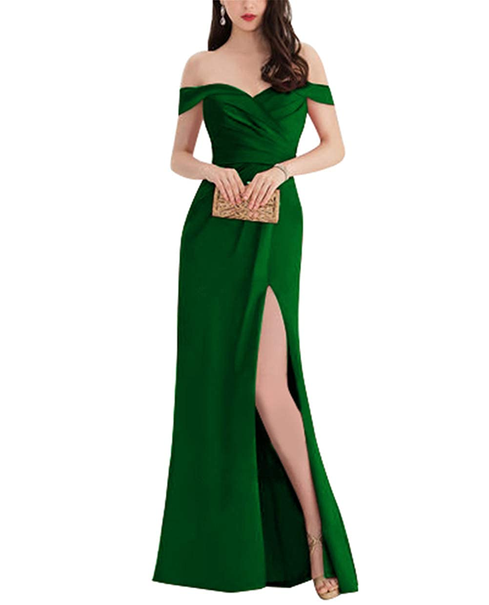 Dark Green Homecy Split Off Shoulder Prom Dress for Women Mermaid Long Satin Formal Evening Gowns
