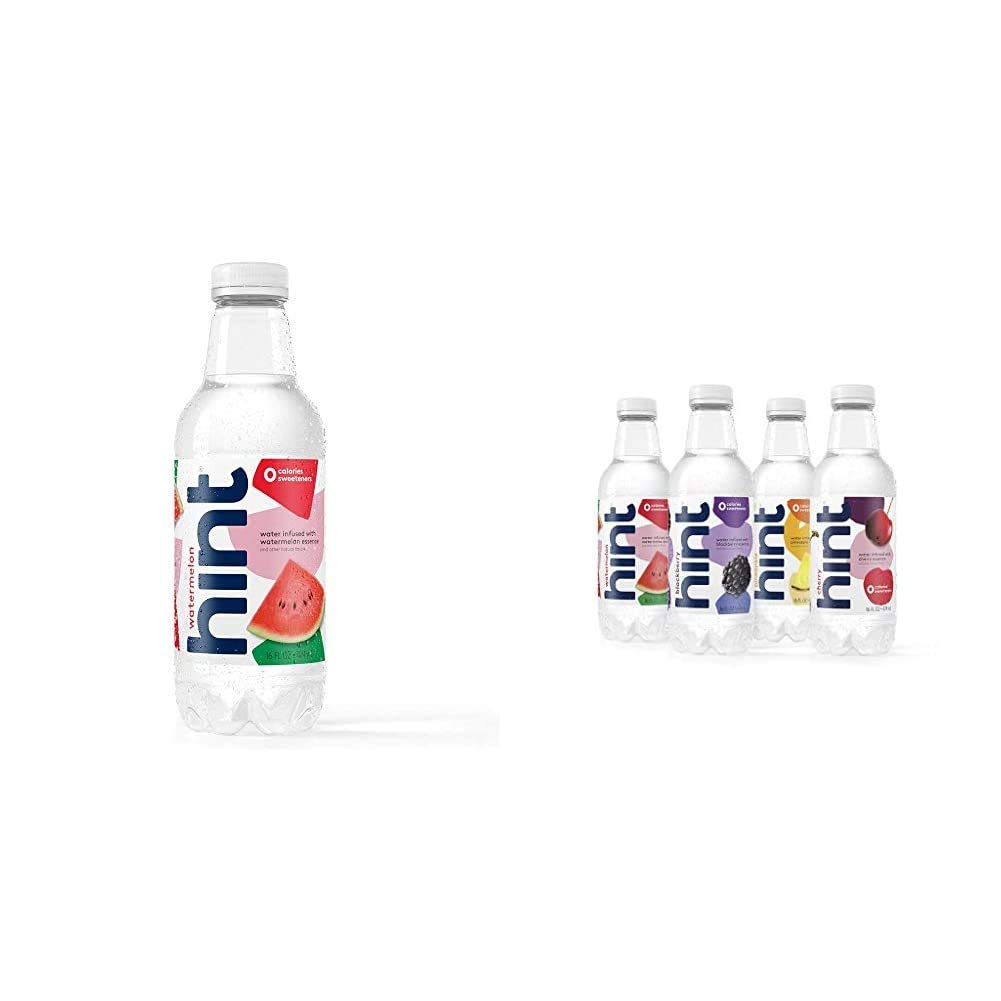Hint Water Watermelon Bottles 16 Ounce (Pack of 12) Pure Water Infused with Watermelon Zero Sugar Z|Fruit Infused Water, Variety Pack, Cherry, Watermelon, Pineapple, Blackberry, 16 oz (12 Pack)