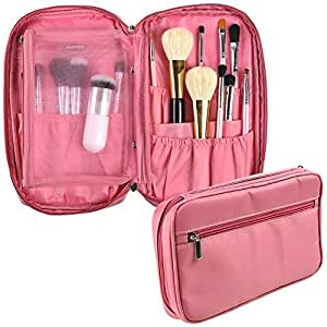 Travelmall Professional Cosmetic Makeup Brush organizer Makeup Artist case with Belt Strap Holder Multifunctional Cosmetic Makeup Bag Handbag for Travel & Home (pink)