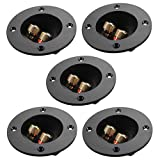 5pcs DIY Home Car Stereo 2-Way Speaker Box Terminal Binding Post Round Spring Cup Connectors Subwoofer Plugs (Black)