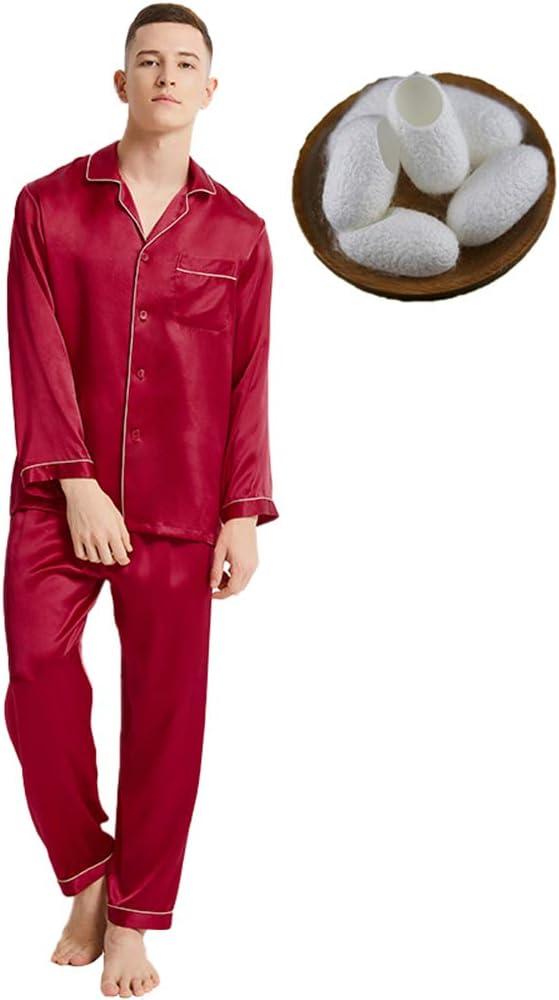 Ropa De Dormir para Hombre Camisón 16 Pijamas De Seda Mumi Modelos De Pareja 100% Seda De Morera Traje De Dos Piezas De Servicio A Domicilio De Manga Larga para Hombre,Maroon,L