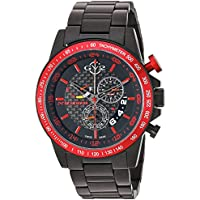 GV2 by Gevril Scuderia Mens Chronograph Swiss Quartz Alarm GMT Watch (Black Dial)