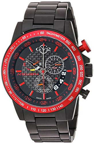 (GV2 by Gevril Scuderia Mens Chronograph Swiss Quartz Alarm GMT Black Stainless Steel Sports Racing Watch, (Model:)