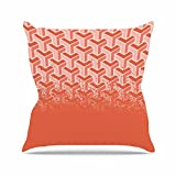 Kess InHouse Just L No Yard Coral Pastel Urban Outdoor Throw Pillow, 16'' x 16''