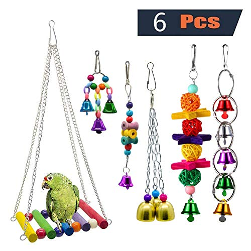 PINCHUANG Bird Swing Toys Bell Colorful Natural Wood Hammock