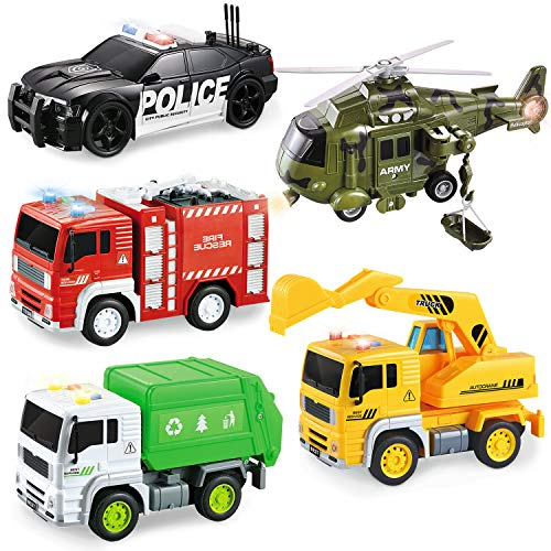 5 Pack Friction Powered Truck Toy Set(8 Inch) Including Garbage Truck, Construction Truck, Fire Truck, Police Car…