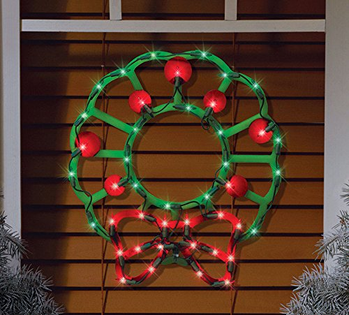 "Northlight Lighted Wreath with Bow and Red Berries Christmas Window Silhouette Decoration, 15"" from Northlight"