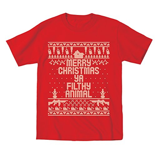 Price comparison product image Merry Christmas Ya Filthy Animal Ugly Christmas Sweater Contest Party Xmas Home Toddler Shirt 2T Red