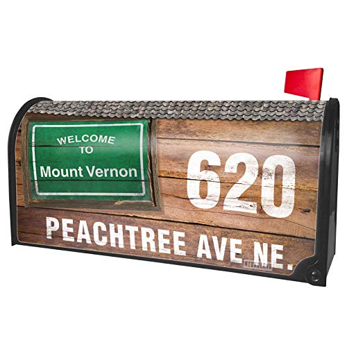 NEONBLOND Custom Mailbox Cover Green Road Sign Welcome to Mount Vernon