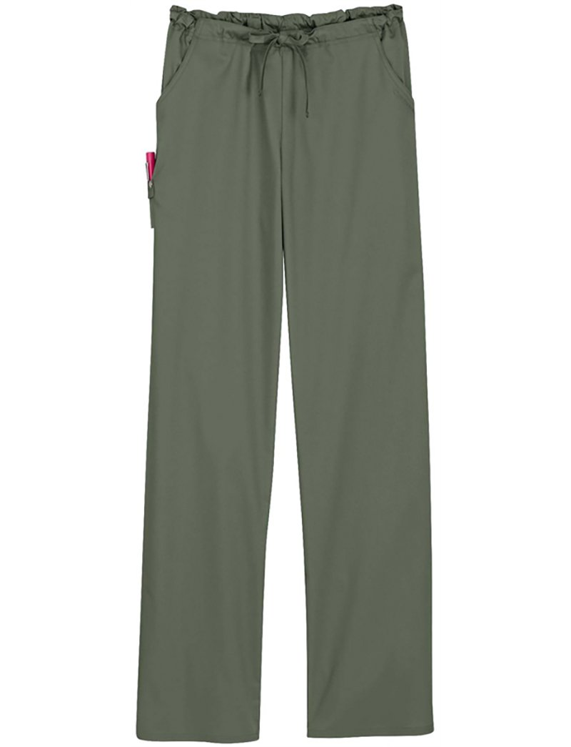 Cherokee Women's Luxe Low Rise Drawstring Pant, Olive, Large Petite