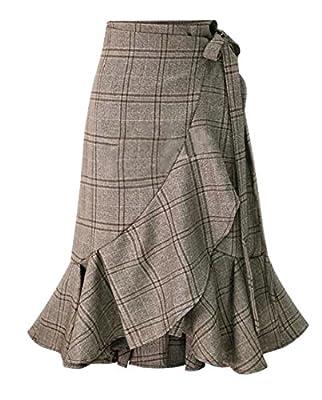 Fulok Womens Plaid Printing Ruffles Hem Cute High-Waisted Midi Skirt