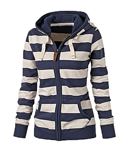 Blue Striped Hoodie Sweater - 3