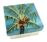 Kubla Craft Coconut Palm Tree Capiz Shell Keepsake Box, 3 Inches Square