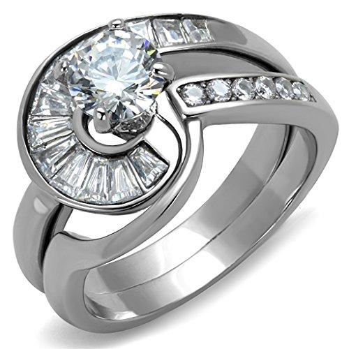 Jewelry Eternal Set Swirls - Womens Stainless Steel Round-cut Clear 1.45 ct. Round Cubic Zirconia Swirl Ring Set