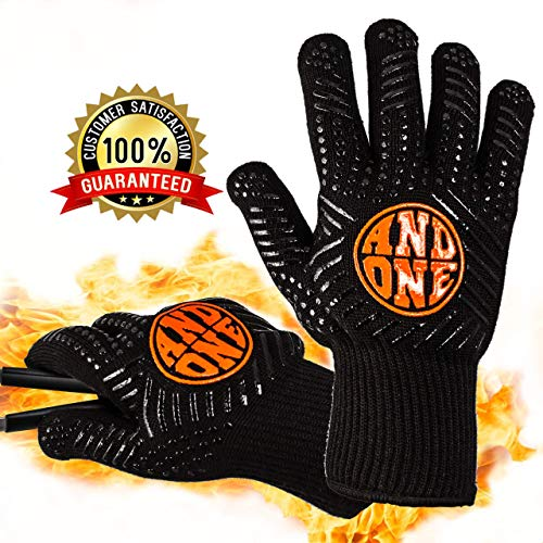 AndOne Heat Resistant BBQ Oven Gloves | Cooking, Baking, and Grilling | Flexible Fire Resistant Kitchen Mitts 932°F EN407 Certified | Non-slip Silicone Coated | Strong Grip and Protection