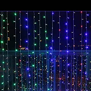 LED Window Curtain Icicle Lights, 3m x 1.5m/9.8ft x 4.9ft, White 144 LEDs Transparent String Curtain Light, 8 Modes String Lights, for Wedding Party Garden Holiday Decoration
