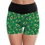 TTBYOGA Brazil Flag Pattern Womens High Waist Yoga Shorts Dance Athletic Sport Short Pants