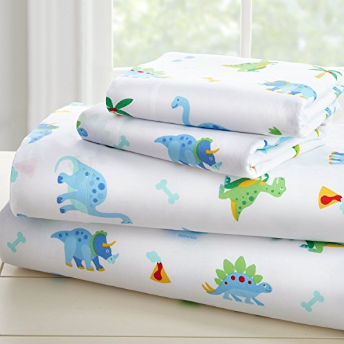 - Wildkin Microfiber Toddler Sheet Set, Includes Top Sheet, Fitted Sheet, and Pillow Case, Bold Patterns Coordinate with Other Room Décor, Olive Kids Design - Dinosaur Land