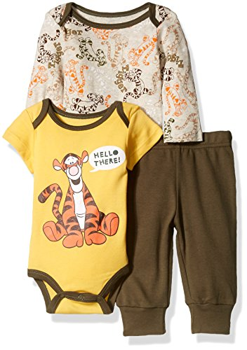 Disney Baby Boys' 3-Piece 2 Tigger Bodysuits with Pant Set, Beige, 6/9 Months (Baby Tigger)