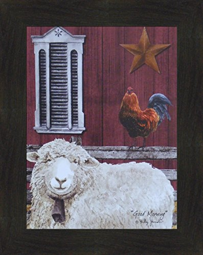 Wool Folk Art (Good Morning by Billy Jacobs 16x20 Sheep Lamb Wool Rooster Star Barn Country Folk Art Print Picture (2