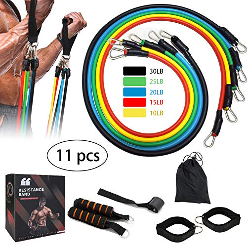 Lwsengme Resistance Bands Set, Exercise Fitness Belts with Handles, Door Anchor, Foam Handles, Ankle Straps and Carry…