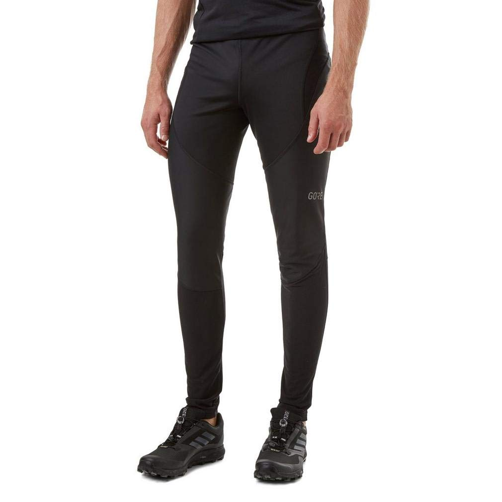 GORE WEAR Windproof Men's Cycling Tights, C3 Partial Gore Windstopper Tights, L, Black, 100407