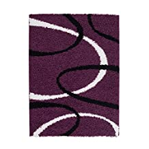 Lilac Shaggy Turkish Area Rug Trendy Modern Contemporary Dining Living Room Area Rug (4 x 6)