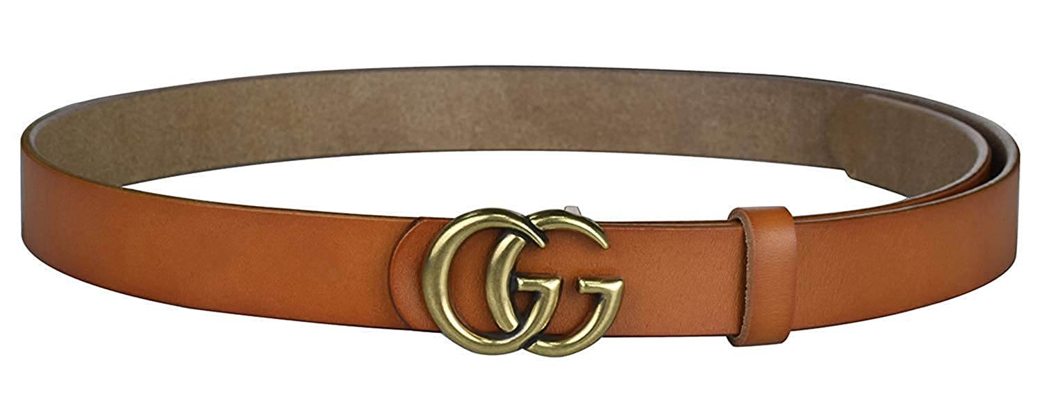 960471e2402 Fashion G-Style Gold Buckle Unisex Cowhide Leather Belt Vintage Thin Dress  Belts For Jeans eu-GG01