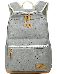 Casual Dot 14 Inch Laptop Backpacks Kawaii Girls Canvas Portable School Backpack Grey