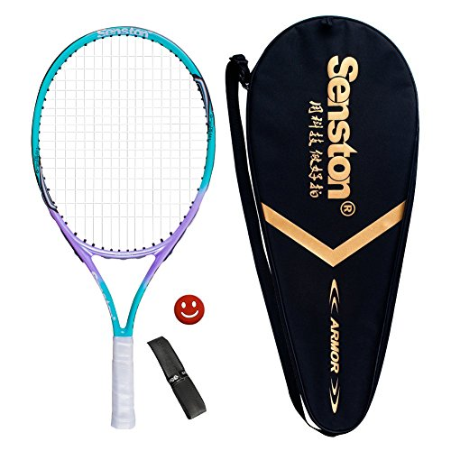 Senston 23″ Junior Tennis Racquet for Kids Children Boys Girls Tennis Rackets with Racket Cover Blue with Cover Tennis Overgrip Vibration Damper