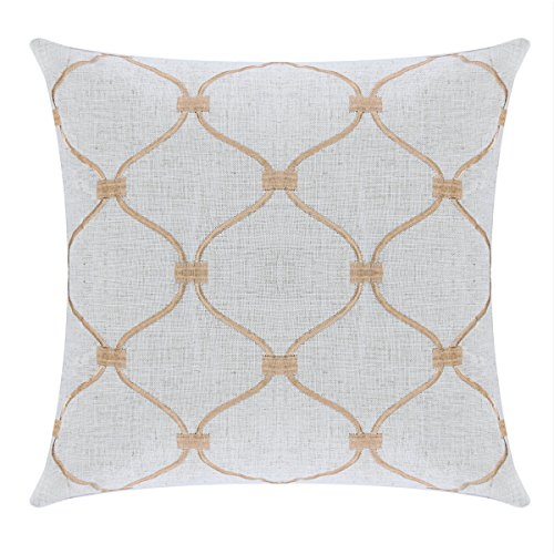 Aitliving Throw Pillow Case Accent Pillows Cover for Sofa Bed Couch Home Family Decorative Gold Embroidered Linen Cushion Cover 18X18 Inch, Trellis Geometric Lattice Toss Pillow Shell 45x45cm ()