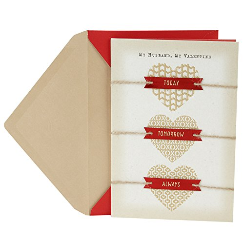 Hallmark Valentine's Day Greeting Card for Husband (Three Gold Hearts) (Happy Valentine Cards)